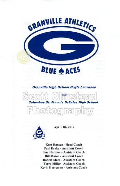 Wednesday, April 18, 2012 - Columbus St. Francis DeSales Stallions at Granville Blue Aces