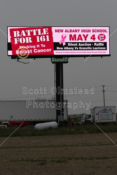 Friday, May 4, 2012 -The Batle for 161 - Granville Blue Aces at New Albany Eagles -  Benefiting the Stephanie Spielman Fund for Breast Cancer Research at Ohio State - Unfortunately the evening was complete with rain and lightening