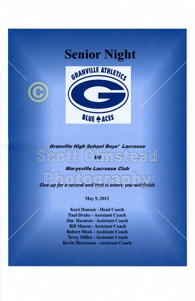 Wednesday, May 9, 2012 - Marysville Monarchs at Granville Blue Aces - SENIOR NIGHT