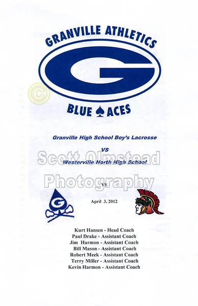 Official Game Program - Tuesday, April 3, 2012 - Westerville North Warriors at Granville Blue Aces