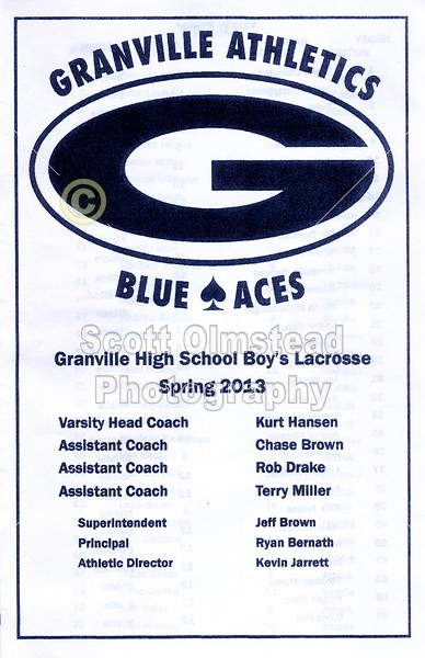 Official Game Program - Saturday, May 11, 2013 - Wooster Generals at Granville Blue Aces - Senior Day