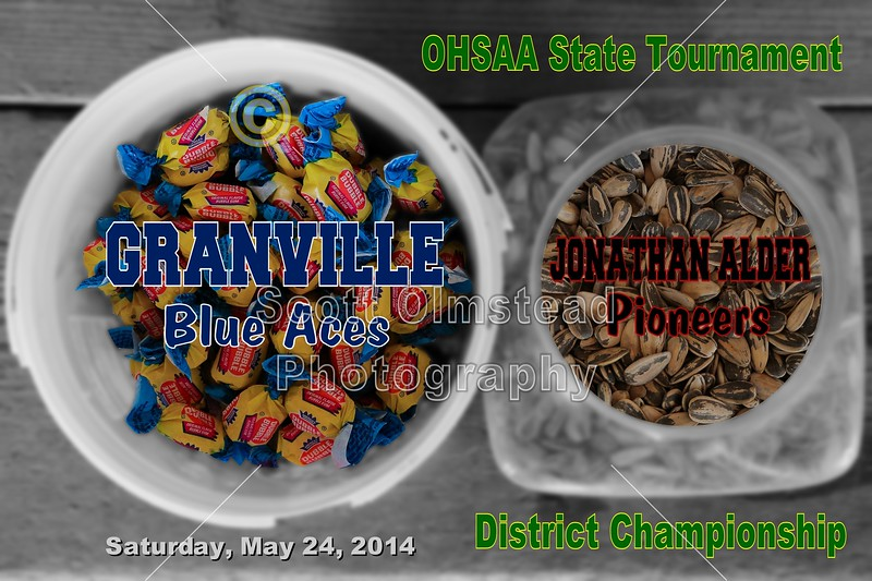 Saturday, May 24, 2014 - Granville Blue Aces versus Jonathan Alder Pioneers - This District Championship Game went to extra innings to determine a Champion