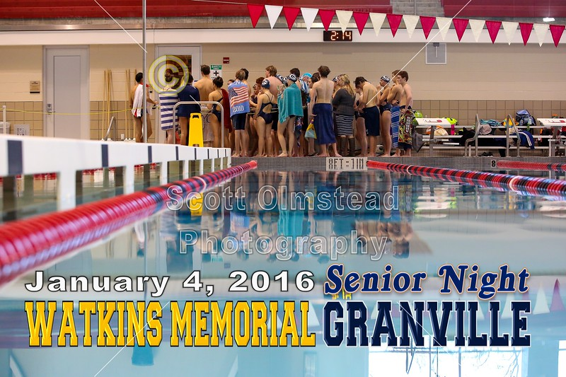 Watkins Memorial High School Warriors at Granville High School Blue Aces - Senior Night - Monday, January 4, 2016