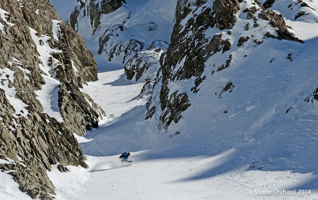 Rider: Tess Carney in the lower chute of Mt Greenlaw, New Zealand<br /> Photo by Shane Orchard