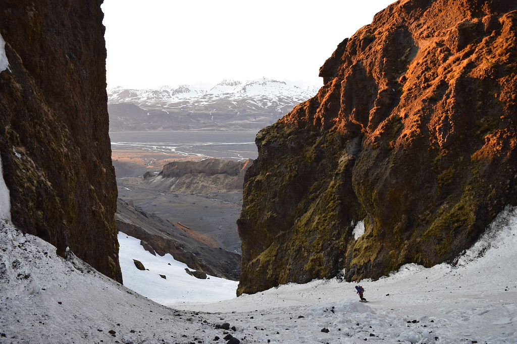 Tess ridding down the east couloir  of Eyjafjöll Glacier