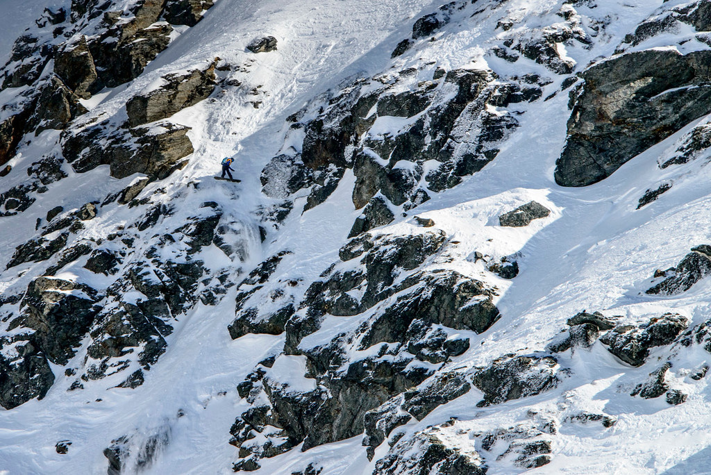 "Snowboarder Tess Carney in the ""waterfall section""  in the North Face Frontiers NZ. Photo : Tim Hillsamer"