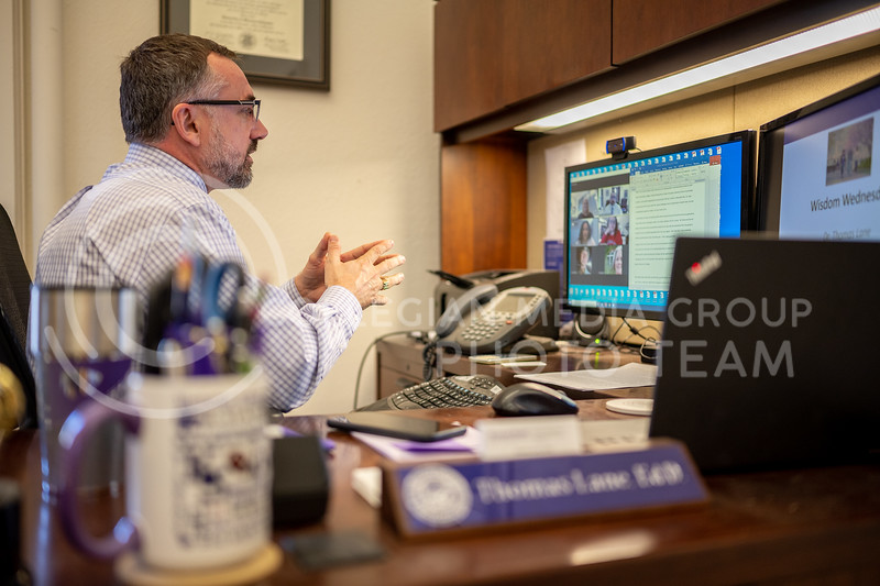 Center for Student Involvement's new virtual event series, Wisdom Wednesday, hosted guest speaker Dr. Thomas Lane, Vice President of Student Life and Dean of Students here at Kansas State University. Wednesday, February 24, 2021. (Dylan Connell | Collegian Media Group)
