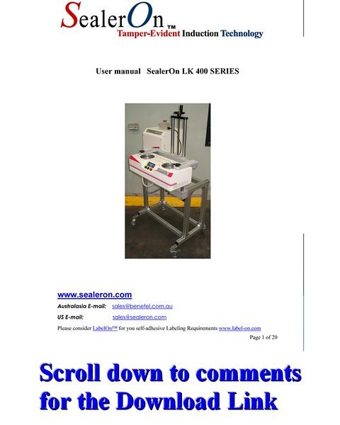 SealerOn™ 400/500 Manual Download Link - see Comments Below