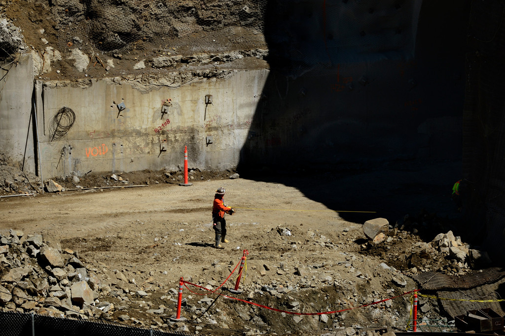 ". IDAHO SPRINGS, CO. - May 03:  Explosives worker pulling the cord before the first ""blast\"" at the west portal of the Twin Tunnels project in Idaho Springs that will signal the start the blasting season May 03, 2013 Idaho Springs, Colorado. (Photo By Joe Amon/The Denver Post)"