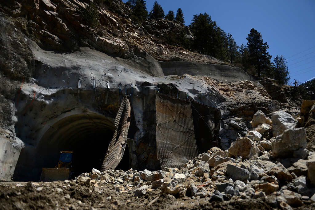 ". IDAHO SPRINGS, CO. - May 03:  The rubble after the first ""blast\"" at the west portal of the Twin Tunnels project in Idaho Springs that signals the start the blasting season May 03, 2013 Idaho Springs, Colorado. (Photo By Joe Amon/The Denver Post)"