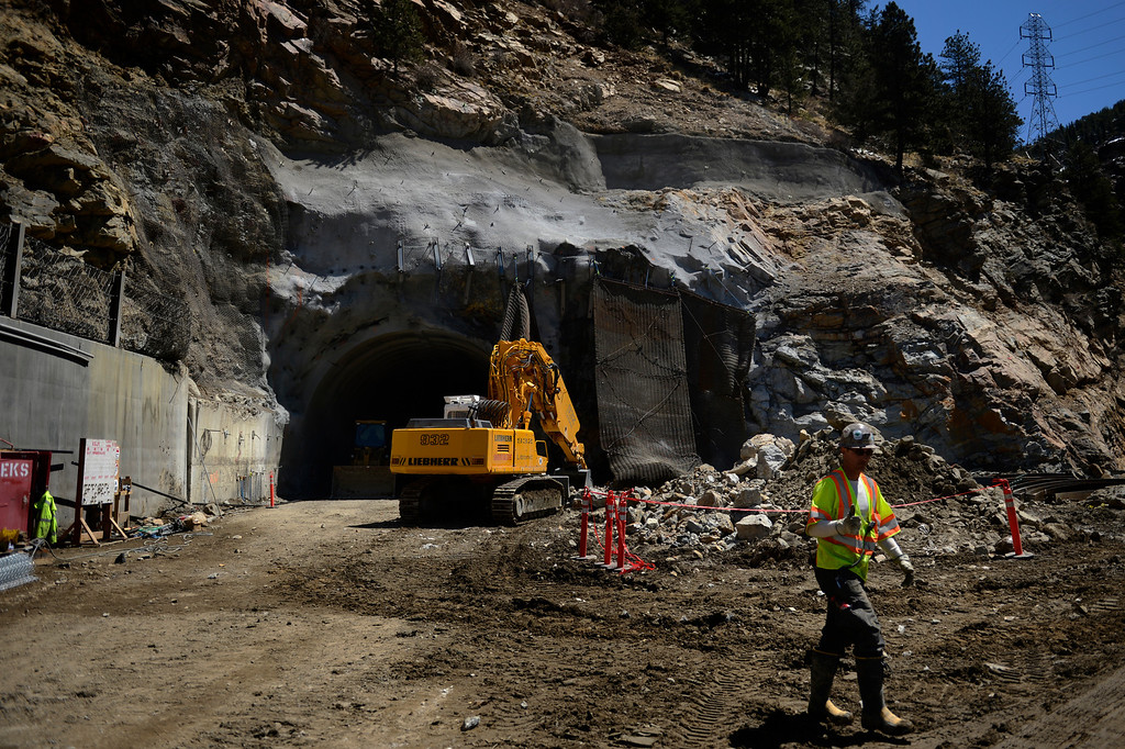 ". IDAHO SPRINGS, CO. - May 03:  A worker gives the thumbs up after the first ""blast\"" at the west portal of the Twin Tunnels project in Idaho Springs that will signal the start the blasting season May 03, 2013 Idaho Springs, Colorado. (Photo By Joe Amon/The Denver Post)"