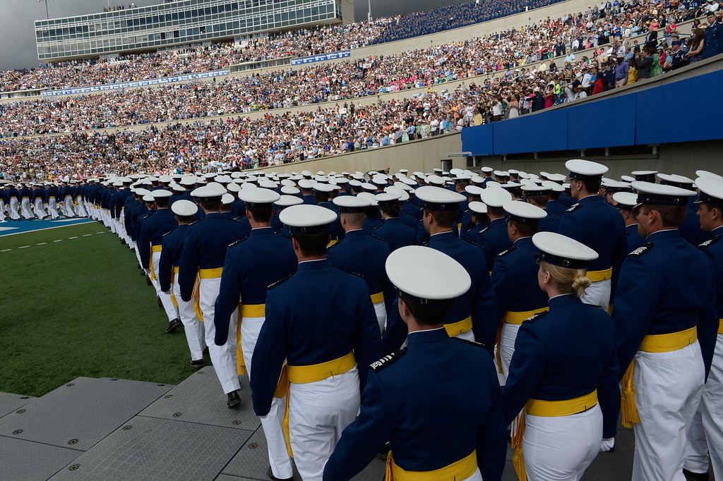 . Cadets march onto the field at the start of the United States Air Force Academy graduation ceremony at Falcon Stadium in Colorado Springs, CO May 29, 2013.(Photo By Craig F. Walker/The Denver Post)