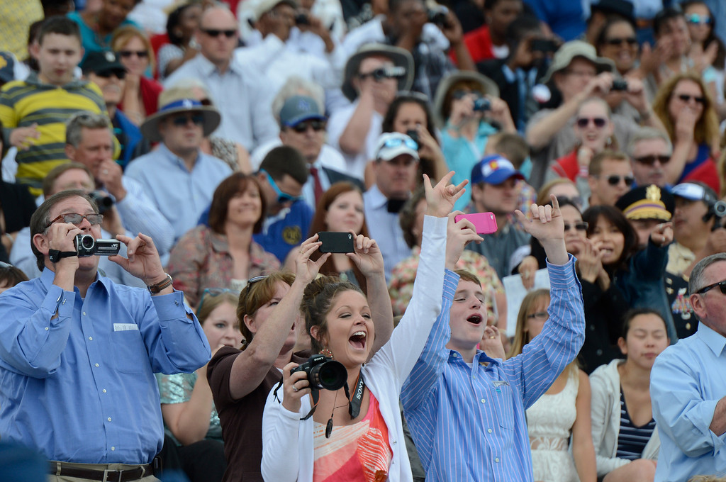 . Family, friends cheer for graduates during the United States Air Force Academy graduation ceremony at Falcon Stadium in Colorado Springs, CO May 29, 2013.(Photo By Craig F. Walker/The Denver Post)