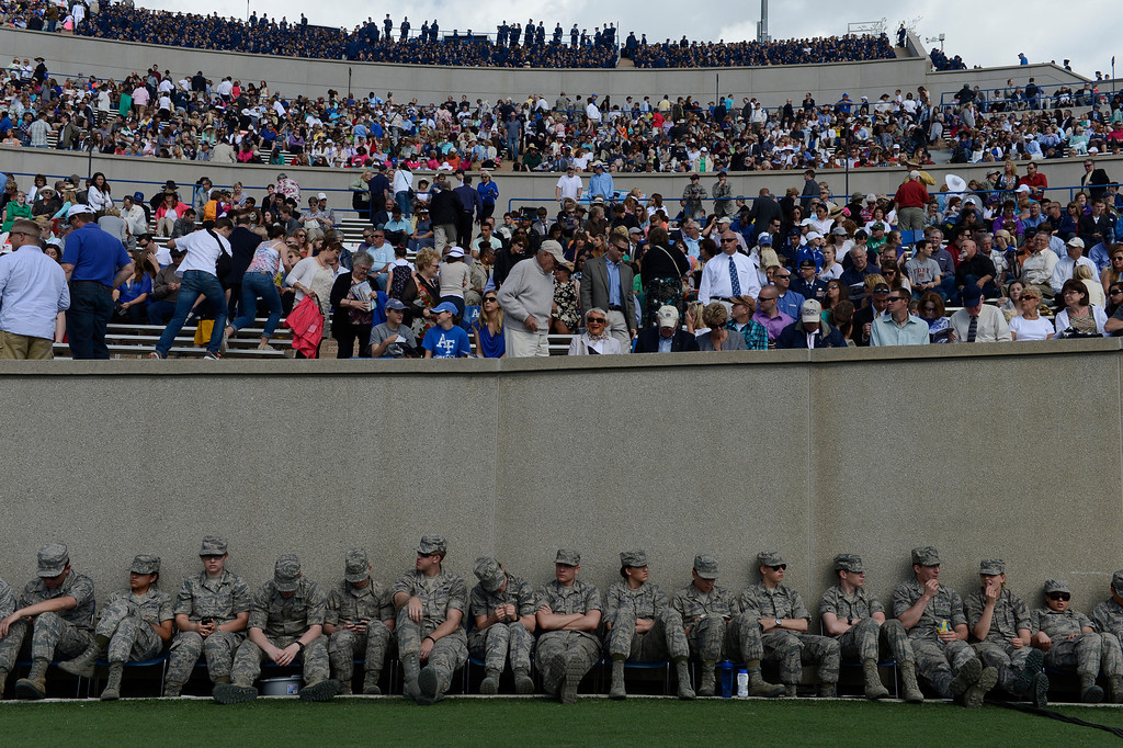. Cadets line the field before the United States Air Force Academy graduation ceremony at Falcon Stadium in Colorado Springs, CO May 29, 2013.(Photo By Craig F. Walker/The Denver Post)