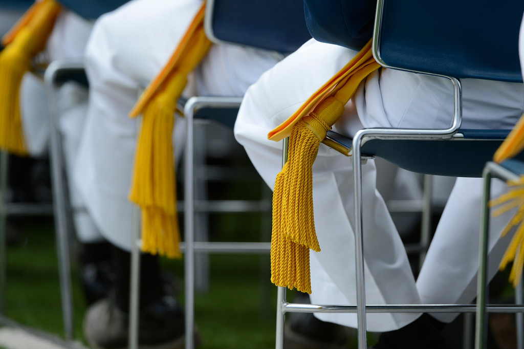 . Cadets take their seats during the United States Air Force Academy graduation ceremony at Falcon Stadium in Colorado Springs, CO May 29, 2013.(Photo By Craig F. Walker/The Denver Post)