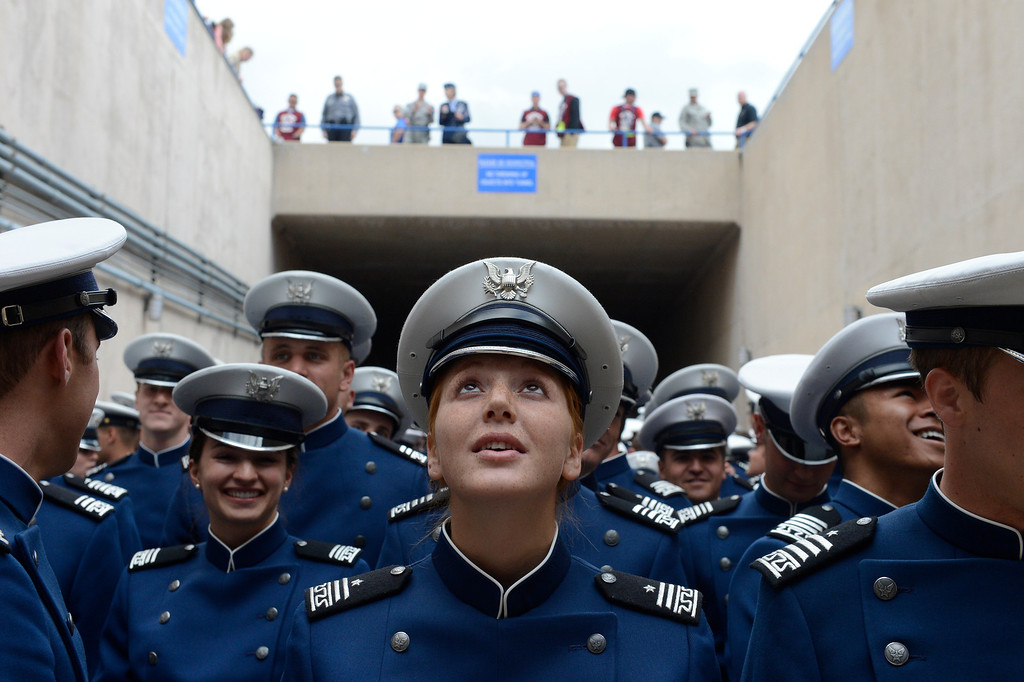 . Megan Brandt joins fellow cadets for the Graduating Class March-on at the start of the United States Air Force Academy graduation ceremony at Falcon Stadium in Colorado Springs, CO May 29, 2013.(Photo By Craig F. Walker/The Denver Post)