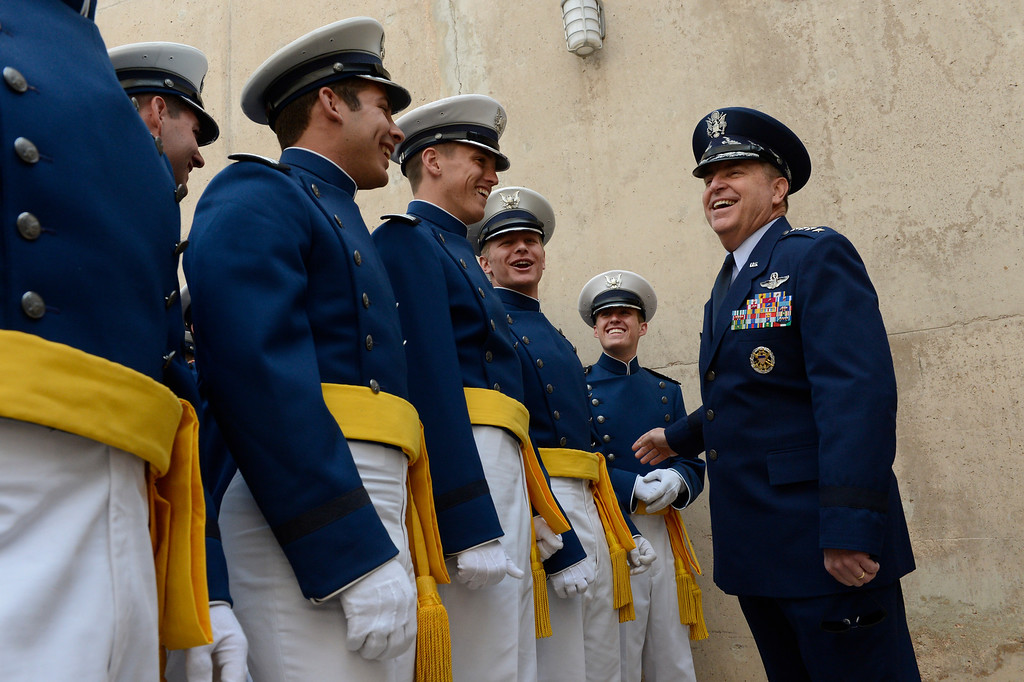 . Air Force Chief of Staff Gen. Mark Welsh greets cadets before the United States Air Force Academy graduation ceremony at Falcon Stadium in Colorado Springs, CO May 29, 2013.(Photo By Craig F. Walker/The Denver Post)