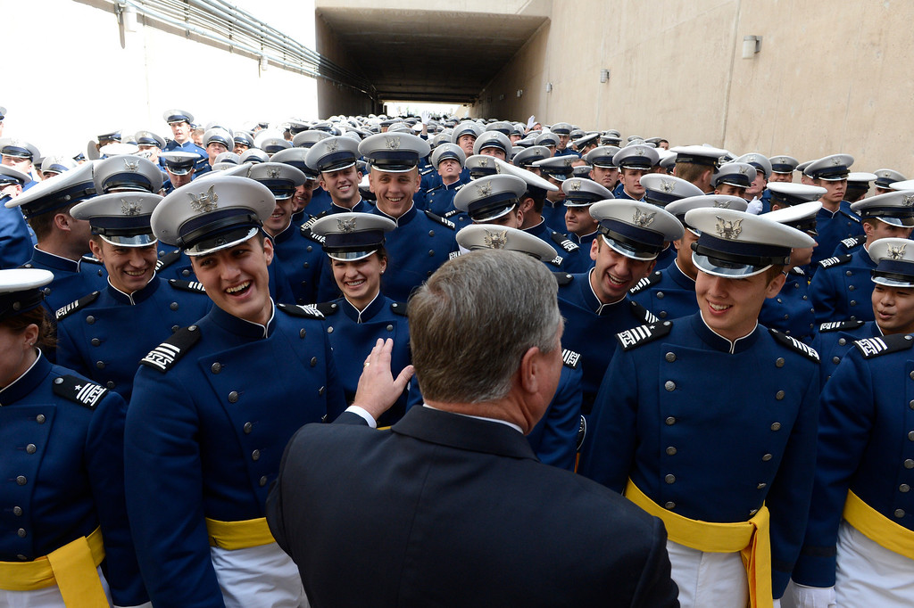 . Secretary of the Air Force, Michael B. Donley greets cadets before the United States Air Force Academy graduation ceremony at Falcon Stadium in Colorado Springs, CO May 29, 2013. Donley presented diplomas to the, over 1000, newly commissioned Second Lieutenants. (Photo By Craig F. Walker/The Denver Post)