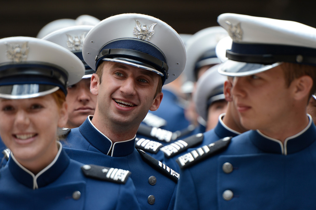 . Cadets arrive for the Graduating Class March-on at the start of the United States Air Force Academy graduation ceremony at Falcon Stadium in Colorado Springs, CO May 29, 2013.(Photo By Craig F. Walker/The Denver Post)