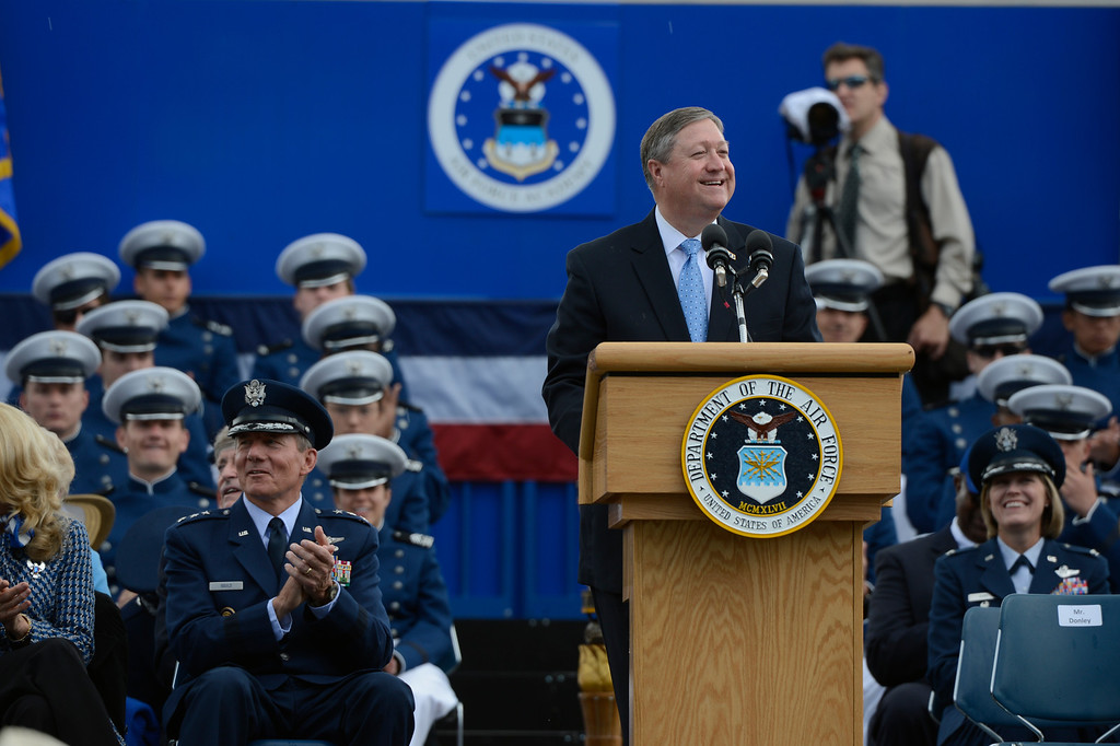 . Secretary of the Air Force, Mr. Michael B. Donley addresses cadets during the United States Air Force Academy graduation ceremony at Falcon Stadium in Colorado Springs, CO May 29, 2013. Donley presented diplomas to the, over 1000,  newly commissioned Second Lieutenants. (Photo By Craig F. Walker/The Denver Post)