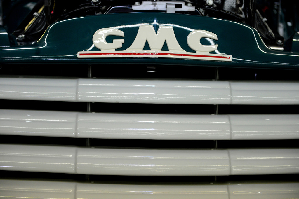 . The font grille of Hubert Hill\'s 1953 GMC 1/2 ton pickup during the Denver Modernism show on Sunday, August 25, 2013 at the Denver Coliseum. Spectators took in a car show as well as having the chance to shop at the exhibition hall where vendors had many mid-century items for sale. (Photo by AAron Ontiveroz/The Denver Post)