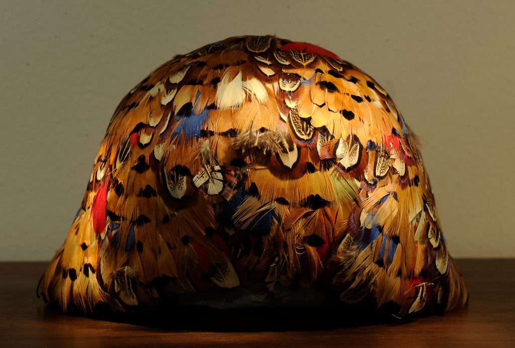 . A French feather Cloche hat from the 1920\'s in the hat collection of Beverly Chico at her home in Greenwood Village, CO  on Friday, October 11, 2013.    (Photo By Cyrus McCrimmon/ The Denver Post )