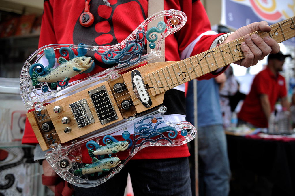 . A custom made glass guitar by Sasquatch Glass of Seattle, Washington during the High Times Cannabis Cup at Denver Mart in Denver, Colorado on April 19, 2014.  (Photo by Seth McConnell/The Denver Post)