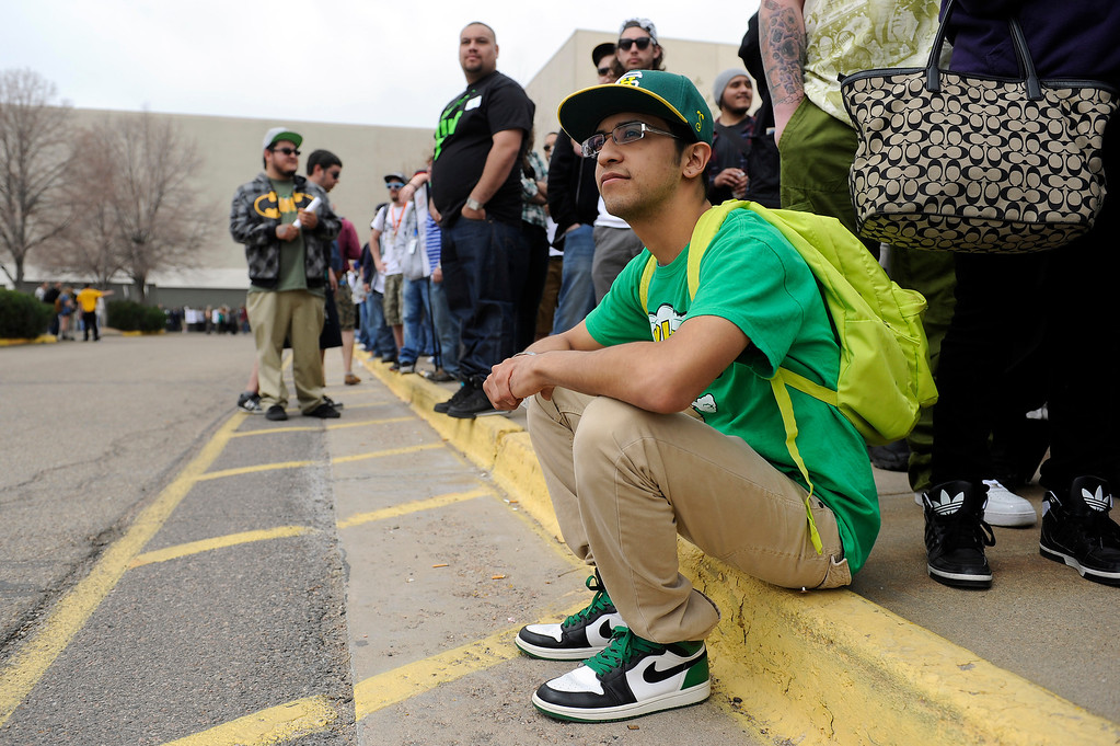 . Francisco Cardieo of El Paso, Texas waits in line to get in prior to doors open during the High Times Cannabis Cup at Denver Mart in Denver, Colorado on April 19, 2014.  (Photo by Seth McConnell/The Denver Post)