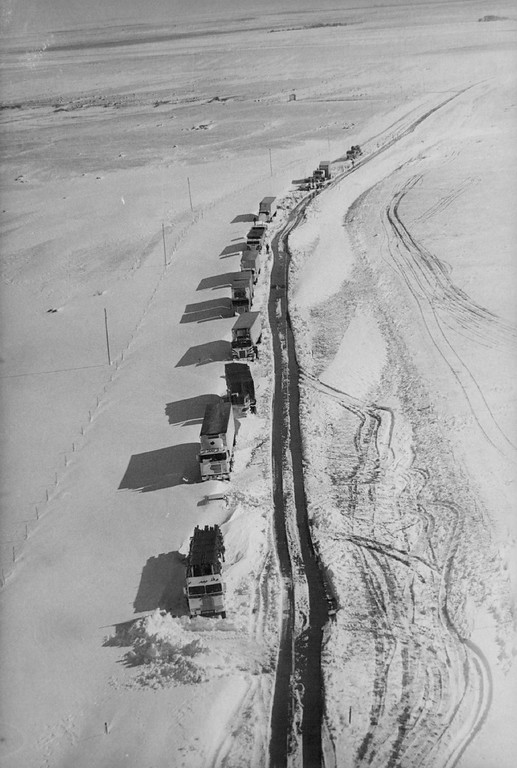 . OCT 31 1979, NOV 1 1979  Trucks Stopped Cold In High Snow In Eastern Colorado About 50 people spent up to 30 hours stranded in drifts south of Campo after a blizzard swept over eastern Colorado Tuesday night.  Credit: Denver Post Photo