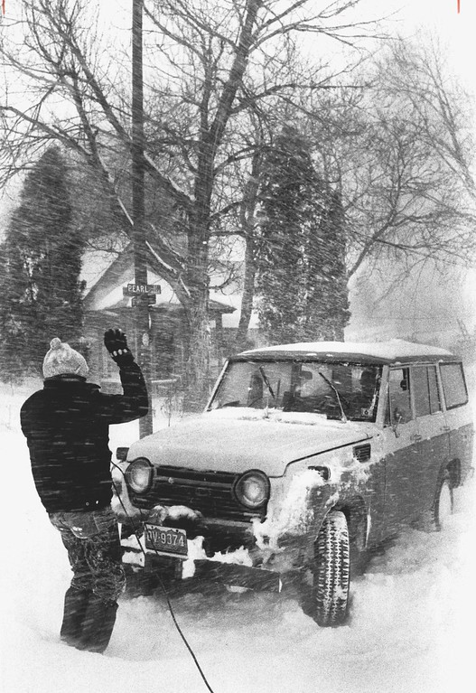 . DEC 1982  Four wheeled drive vehicles tried helping others out of drifts and stalls  Credit: The Denver Post