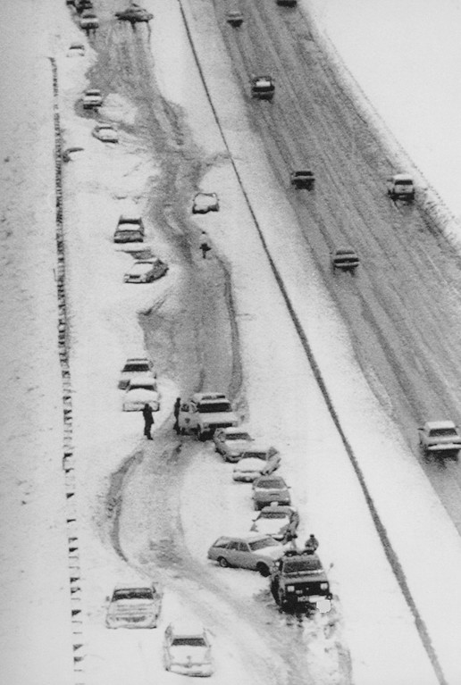 . 3-1990, MAR 7 1990  Snarled Traffic -- Westbound US 36 east of Broomfield Colo., is snarled with traffic which was left on the roadway abandond during the blizzard which swept the front range Tuesday evening. Nearly 200 cars and trucks littered the road making plowing difficult and trapping many motorists for hours along the road between Westminister and Boulder, Colo., 1990  Credit: Denver Post