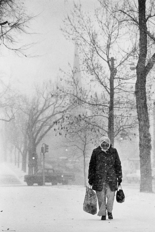 . JAN 25 1980, JAN 26 1980  Mrs. Camille Cunningham Trudges Through Storm Blizzard conditions Friday afternoon made it unpleasant for pedestrians.  Credit: Denver Post