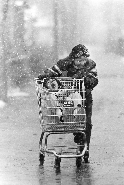 . MAR 3 1981, MAR 03 1982  But Snow is Fun! At least some people are happy that winter has made a reappearance. Dion Del Rean, 11, delighted Johnny Gonzales, 10, by giving him a ride on the way to school Tuesday.  Credit: The Denver Post