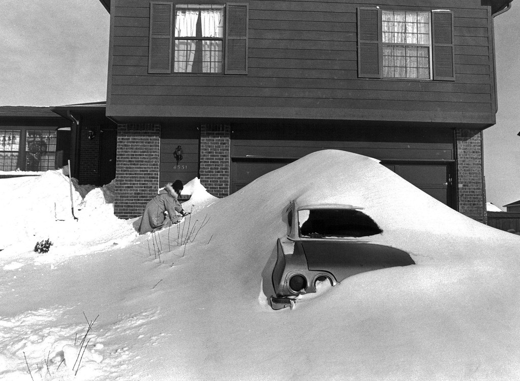 . 12/1982, 12/27/1982  Blizzard Of \'82 Adam County - Thornton Colo - Amy Prieto having fun climbing a huge snow drips in front of her home.  Credit: The Denver Post