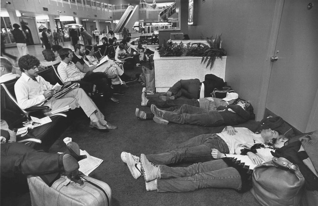 . DEC 1982  Stranded passengers at Stapleton International Airport  Credit: The Denver Post