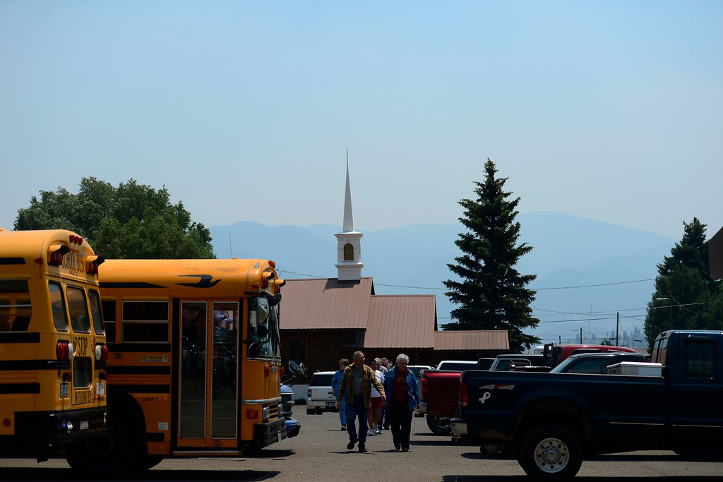 . CREEDE, CO - JUNE 25: Residents arrive at a Creede community meeting as the Papoose fire continues to burn near the small town. The three fires that make up the West Fork Complex fire now top out at more than 70 thousand acres. (Photo by AAron Ontiveroz/The Denver Post)