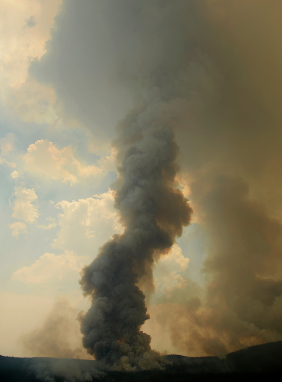 . CREEDE, CO-June 27, 2013: Heavy smoke rises into the sky at the Papoose Fire, June 27, 2013. The wildfire in southwestern Colorado continues to have potential for growth. (Photo By RJ Sangosti/The Denver Post)