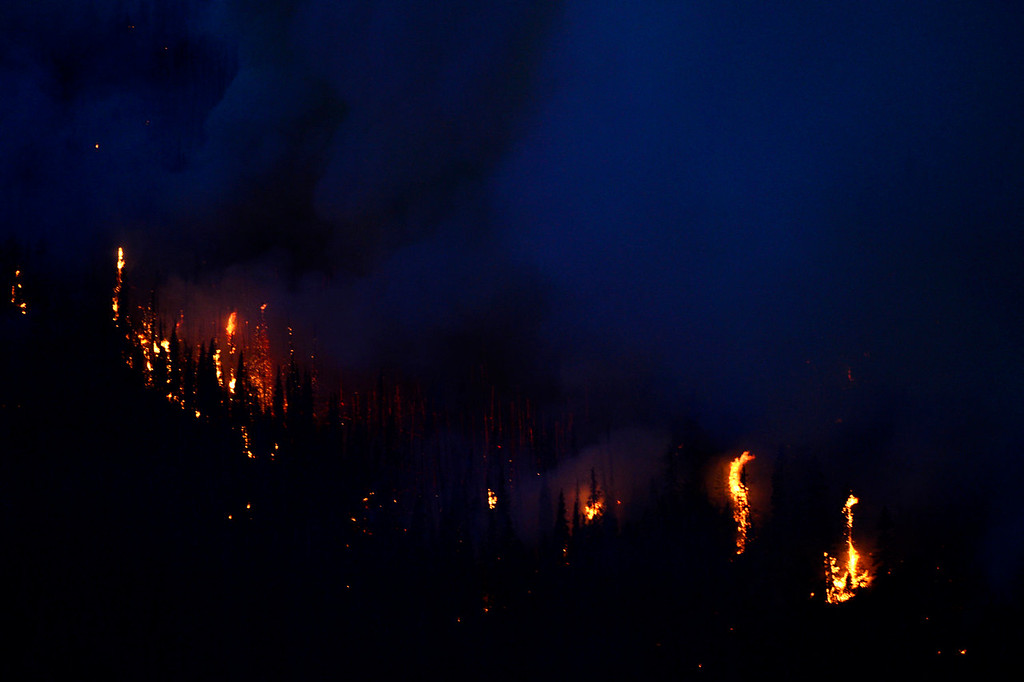 . The West Fork Fire continues to burn into the night near Creede. The West Fork Fire grew to more than 70,000 acres overnight. (Photo by AAron Ontiveroz/The Denver Post)