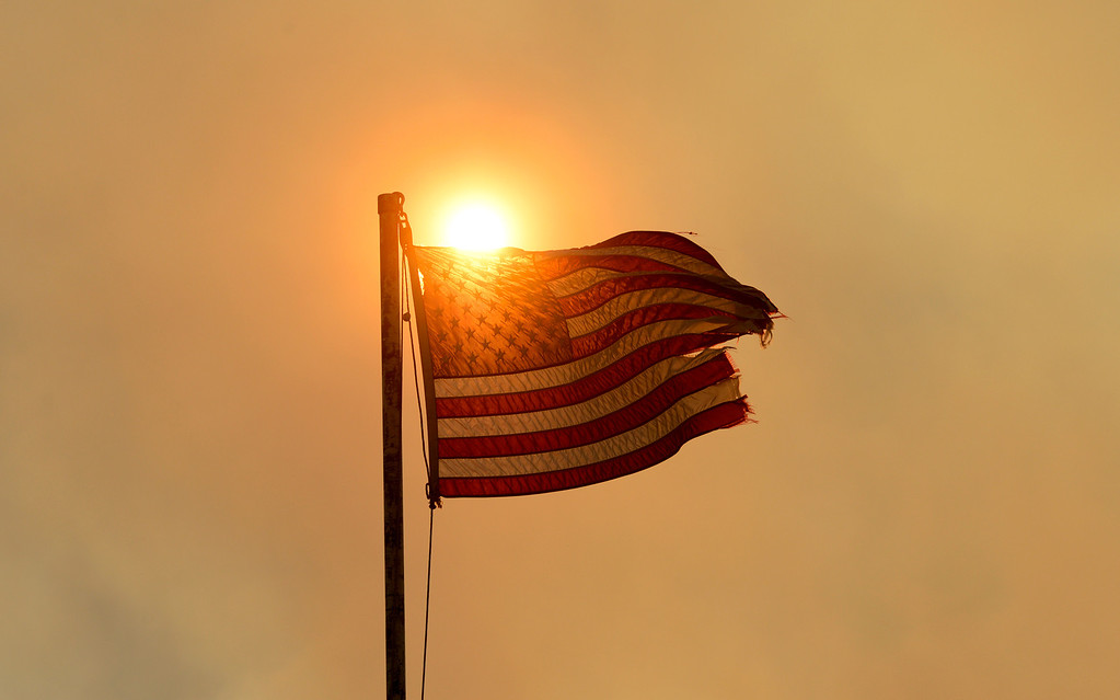 . CREEDE, CO-June 25, 2013: A flag blows in the wind at  the West Fork Complex Fire, June 25, 2013. The wildfire in southwestern Colorado continues to have potential for growth. (Photo By RJ Sangosti/The Denver Post)