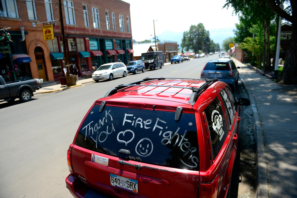 . CREEDE, CO - JUNE 27: Community members find various ways to thank fire crews as the Papoose fire continues to burn near Creede. The three fires that make up the West Fork Complex fire now top out at more than 80 thousand acres. (Photo by AAron Ontiveroz/The Denver Post)