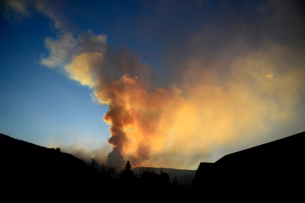 . CREEDE, CO - JUNE 25: The sun sets as the Papoose fire continues to burn near Creede. The three fires that make up the West Fork Complex fire now top out at more than 70 thousand acres. (Photo by AAron Ontiveroz/The Denver Post)