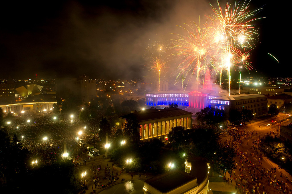 . DENVER - JULY 3: Fireworks explode over the City and County Building during an Independence Day celebration on July 3, 2013. (Photo By Grant Hindsley / The Denver Post)