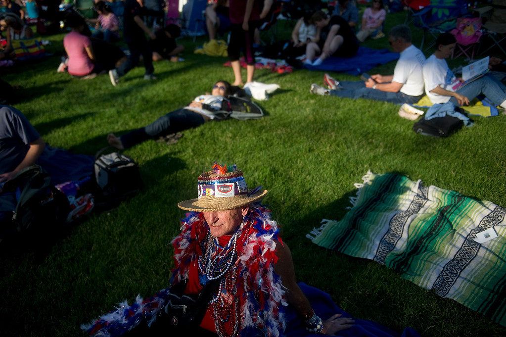 . DENVER - JULY 3: Billy Hart, 66, waits right in front of the stage before the Colorado Symphony plays at Civic Center Park in Denver on July 3, 2013. (Photo By Grant Hindsley/The Denver Post)