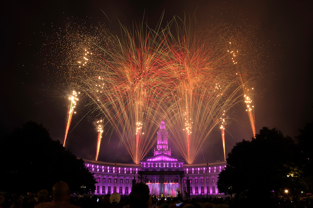. DENVER, CO - JULY 3: Fireworks shoot off from the City and County Building at the city of Denver\'s annual fireworks show in Civic Center on July 3, 2013, in Denver, Colorado. (Photo by Daniel Petty/The Denver Post)