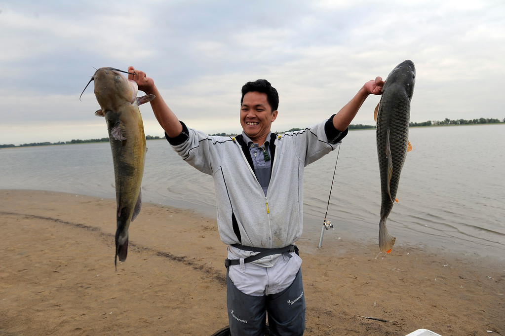 . Chanh Nguyen with a smile on his face holds up a catfish (L) and a carp he caught while fishing at Barr Lake September 1, 2013.  (Photo by John Leyba/The Denver Post)