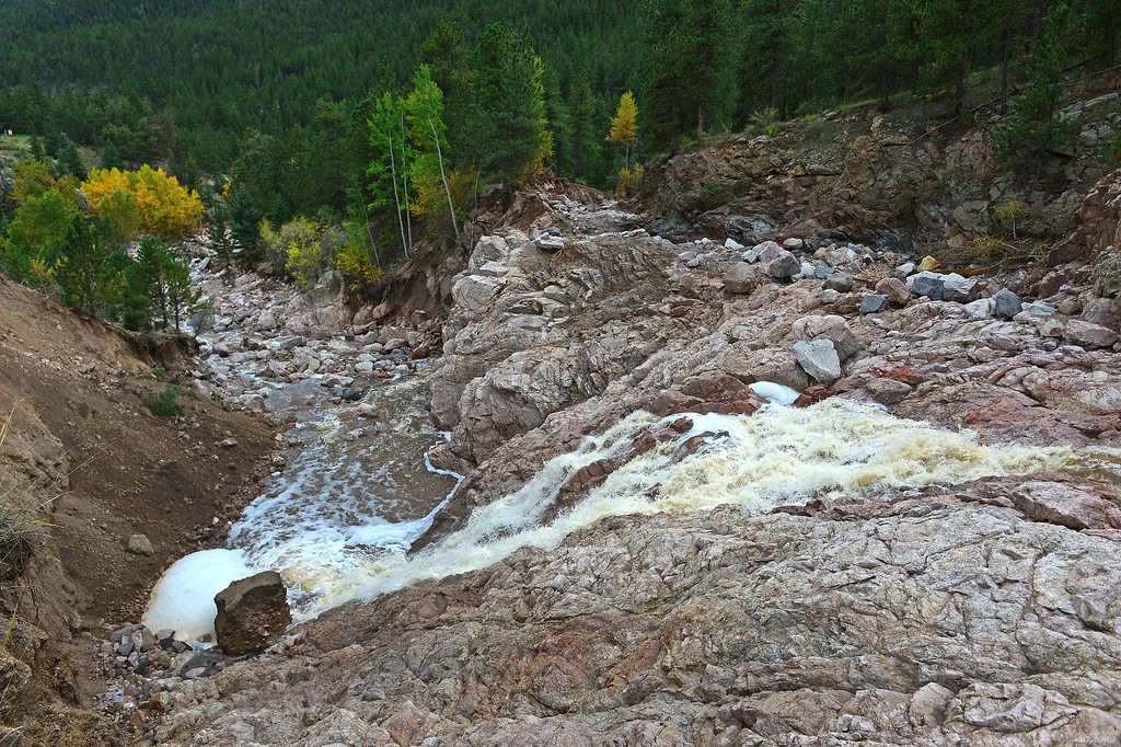 . What was a small river, called the Little Thompson river, became a raging river during the floods and what is left behind is a transformed landscape of that river along Highway 36 just east of Estes Park, Co on September 22, 2013.   (Photo By Helen H. Richardson/ The Denver Post)
