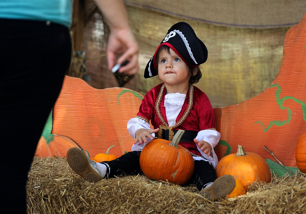 . DENVER, CO - Oct. 25: Families gather at the giant pumpkin to get photos of their trick-or-treaters. Cassandra Villafana, 2, is ready in her pirate costume. The Children\'s Museum of Denver hosts its annual Trick or Treat Street with trick-or-treating from the various Treat Houses, train rides on Vern\'s Mini Train, Monster Carnival, arts and crafts, and more. The event runs both Saturday and Sunday from 10 a.m to 7 p.m. (Photo By Kathryn Scott Osler/The Denver Post)