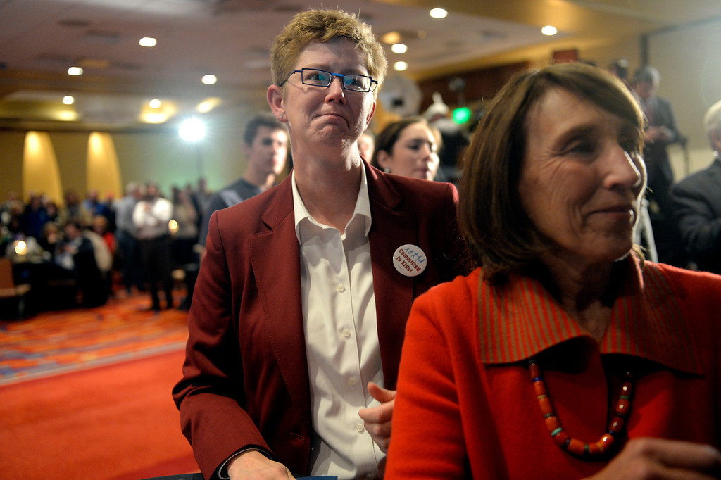 . DENVER, CO. - NOVEMBER 05: Kerrie Dallman, President of the Colorado Education Association, left, and Gail Klapper Director of the Colorado Forum  watch a presentation during a watch party for supporters of Amendment 66 at the Marriott City Center in Denver, CO November 05, 2013. Amendment 66 proposes a $950 million tax increase along with a restructuring of Colorado\'s K-12 school finance system. (Photo By Craig F. Walker / The Denver Post)
