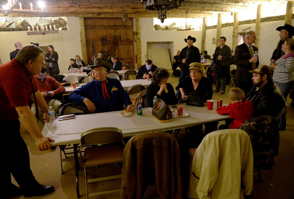 . FORT LUPTON, CO - NOVEMBER 05: Supporters of  the 51st State Initiative gather during an election result watch party at the Historic Fort Lupton Fort, November 05, 2013. Eleven counties are voting to secede from Colorado to form the 51st state. (Photo By RJ Sangosti/The Denver Post)