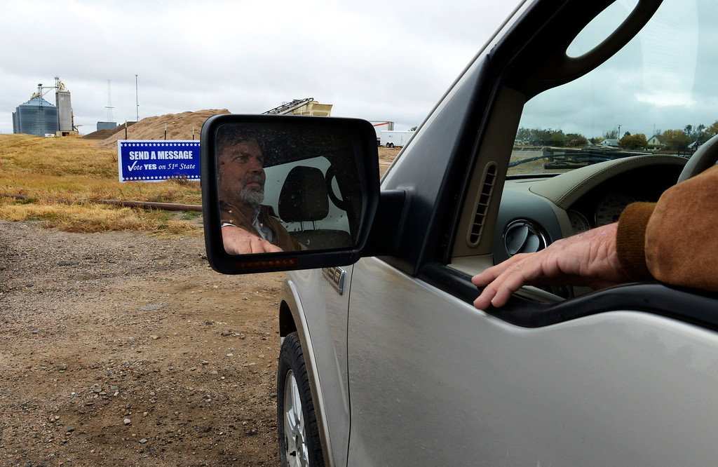 . CHEYENNE WELLS, CO - NOVEMBER 05: Rod Pelton, a conservative county commissioner in Cheyenne Wells, sits in his truck on election day, November 05, 2013. Eleven counties are voting to secede from Colorado and form their own state. (Photo By RJ Sangosti/The Denver Post)